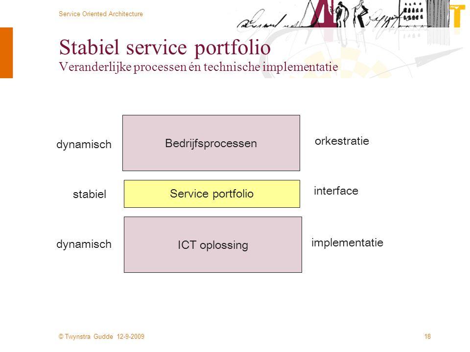 Stabiel service portfolio Veranderlijke processen én technische implementatie