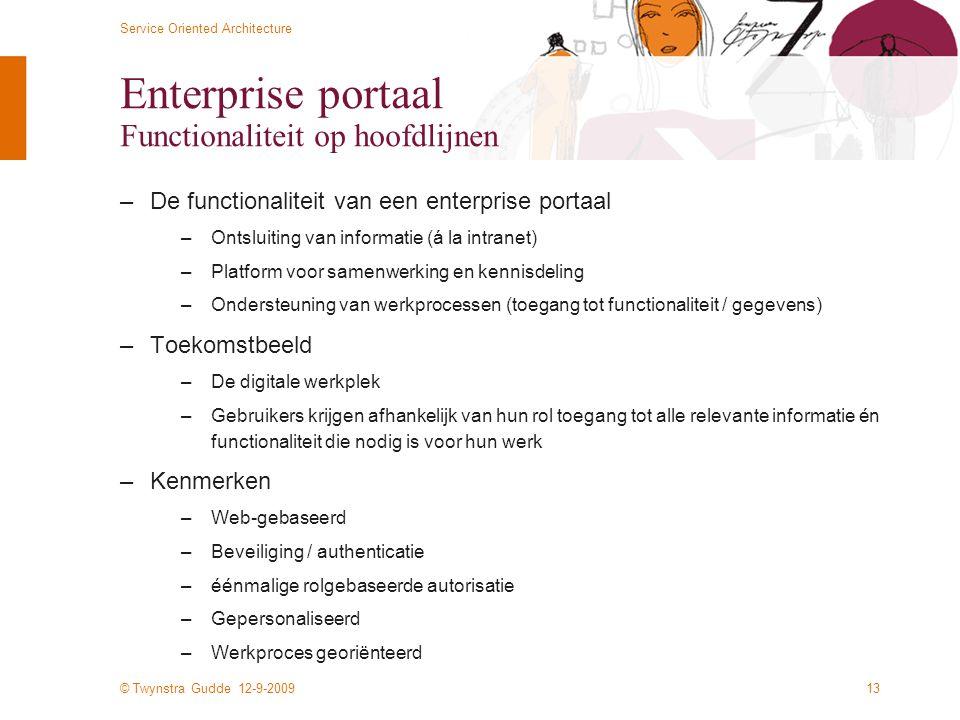 Enterprise portaal Functionaliteit op hoofdlijnen