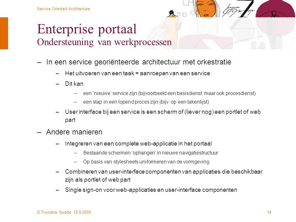 Enterprise portaal Ondersteuning van werkprocessen