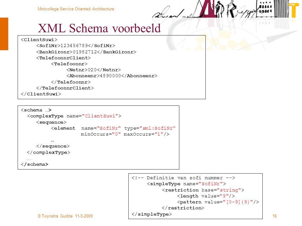 XML Schema voorbeeld <ClientSuwi>