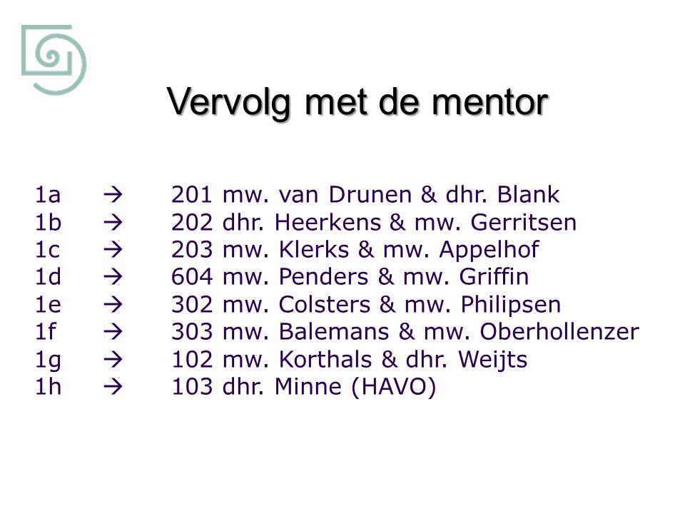Vervolg met de mentor 1a  201 mw. van Drunen & dhr. Blank