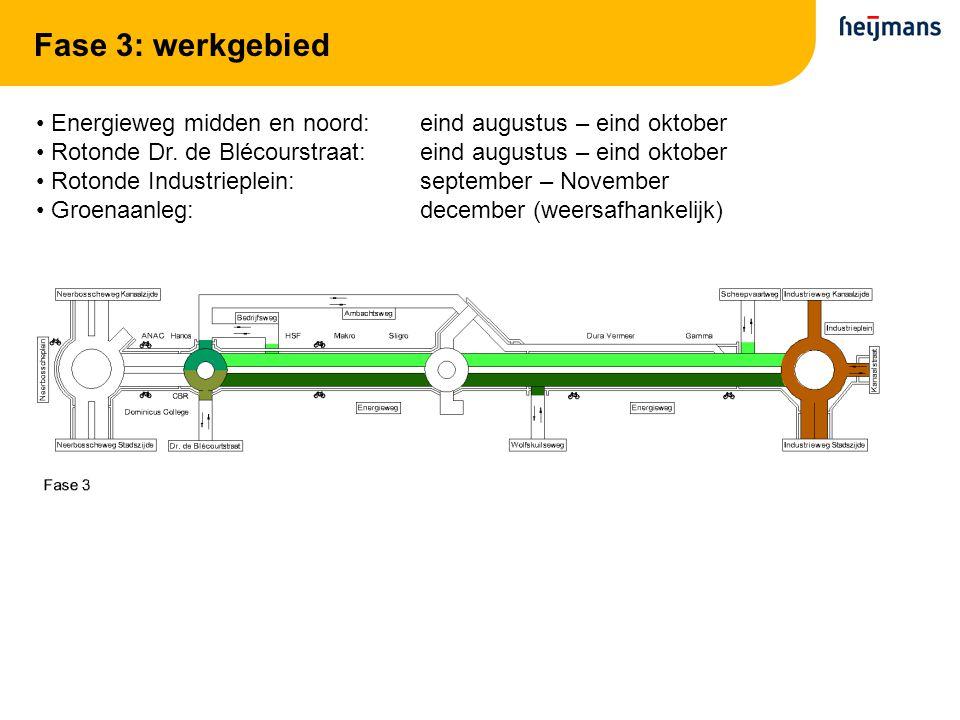 Fase 3: werkgebied Energieweg midden en noord: eind augustus – eind oktober. Rotonde Dr. de Blécourstraat: eind augustus – eind oktober.