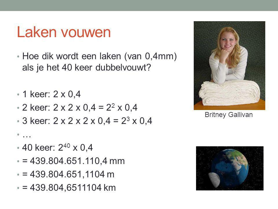 Laken vouwen Hoe dik wordt een laken (van 0,4mm) als je het 40 keer dubbelvouwt 1 keer: 2 x 0,4. 2 keer: 2 x 2 x 0,4 = 22 x 0,4.