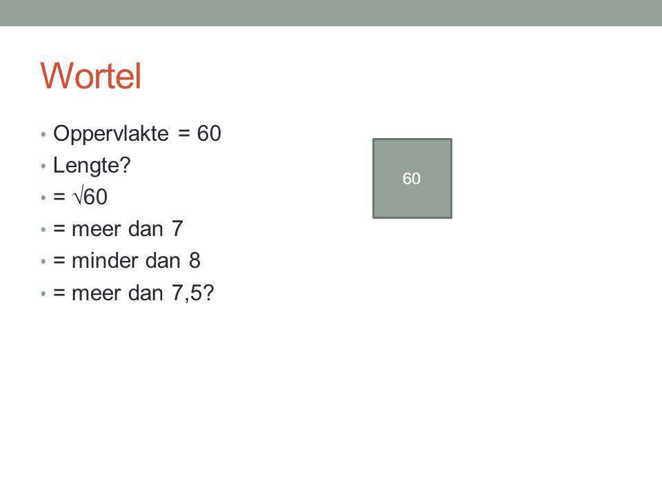 Wortel Oppervlakte = 60 Lengte = √60 = meer dan 7 = minder dan 8