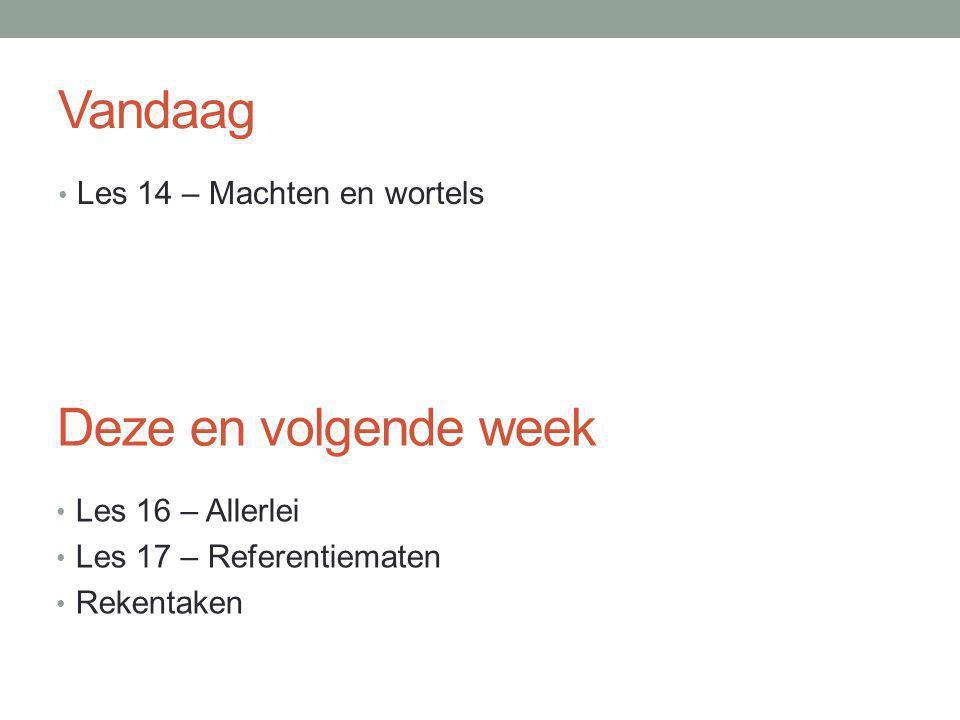 Vandaag Deze en volgende week Les 14 – Machten en wortels