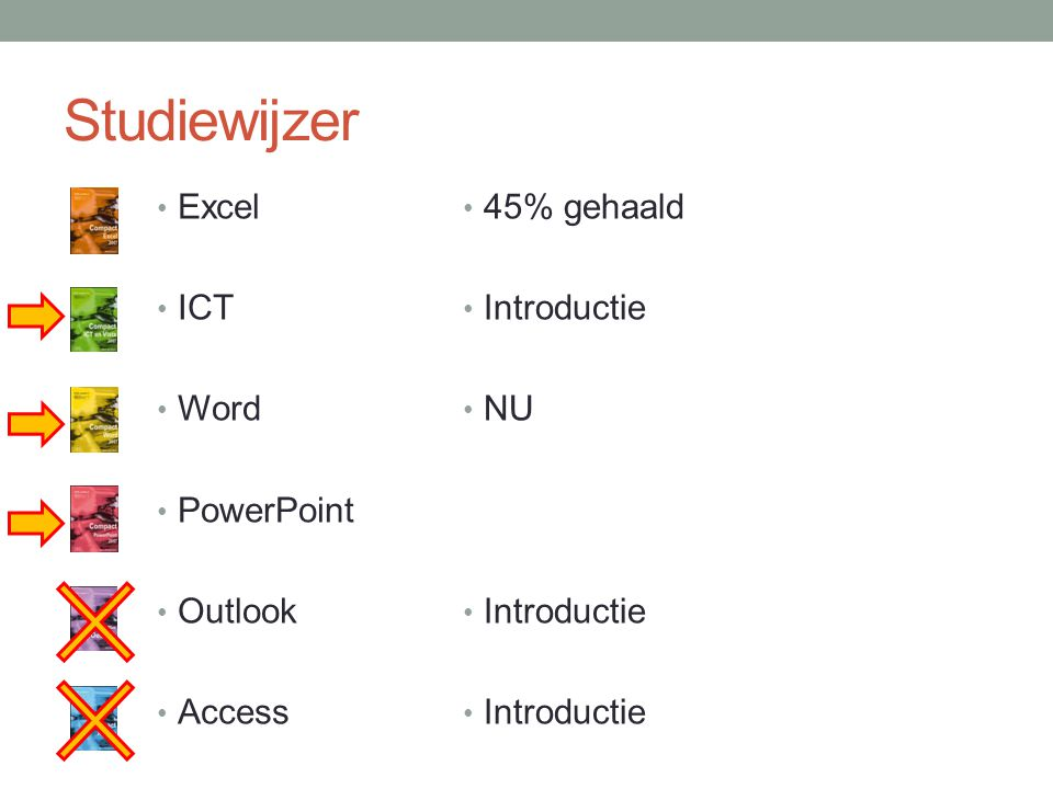 Studiewijzer Excel ICT Word PowerPoint Outlook Access 45% gehaald