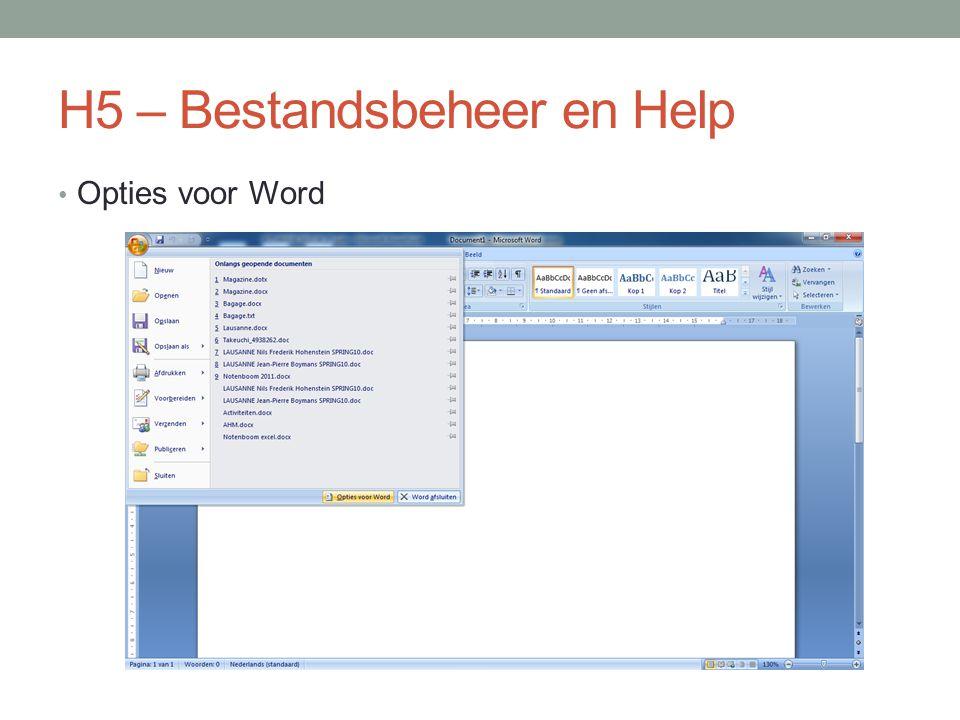 H5 – Bestandsbeheer en Help