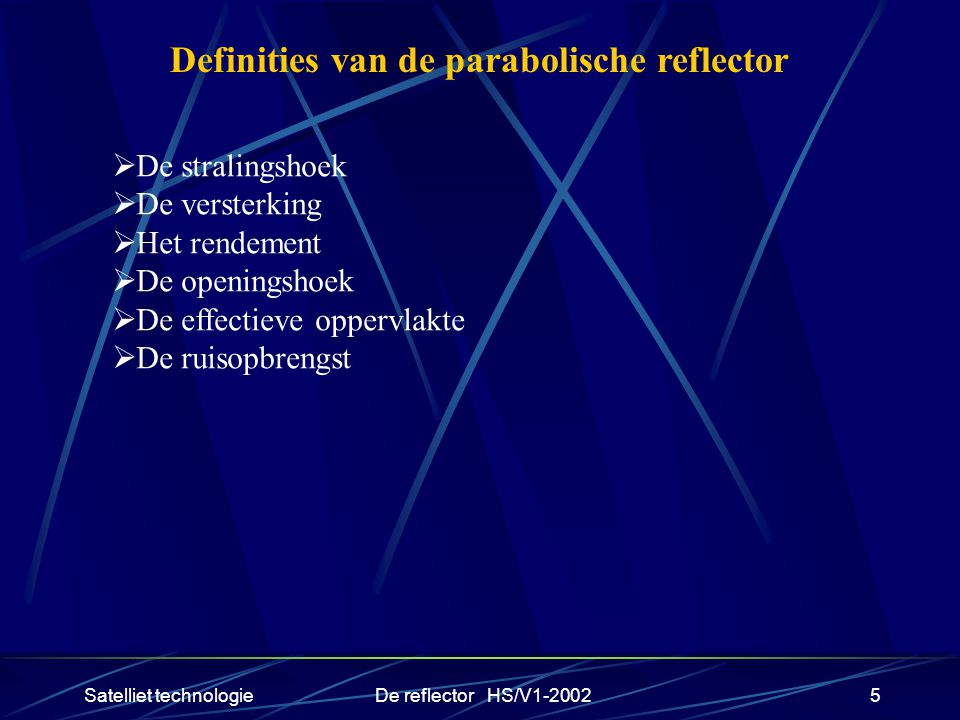 Definities van de parabolische reflector