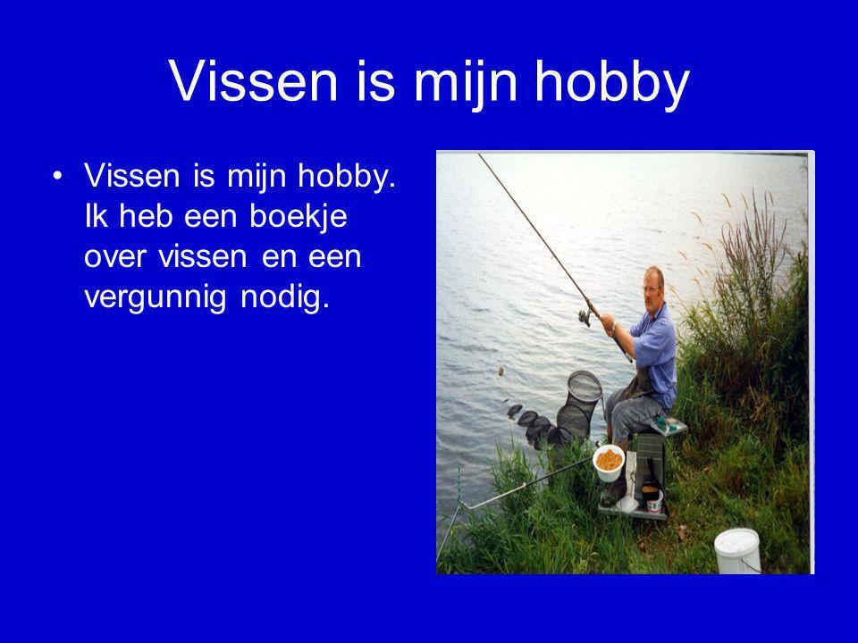 Vissen is mijn hobby Vissen is mijn hobby. Ik heb een boekje over vissen en een vergunnig nodig.
