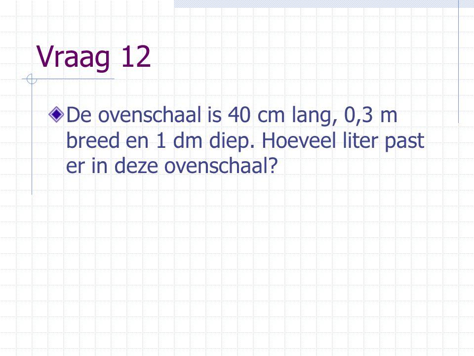 Vraag 12 De ovenschaal is 40 cm lang, 0,3 m breed en 1 dm diep.