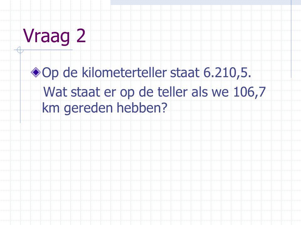 Vraag 2 Op de kilometerteller staat 6.210,5.