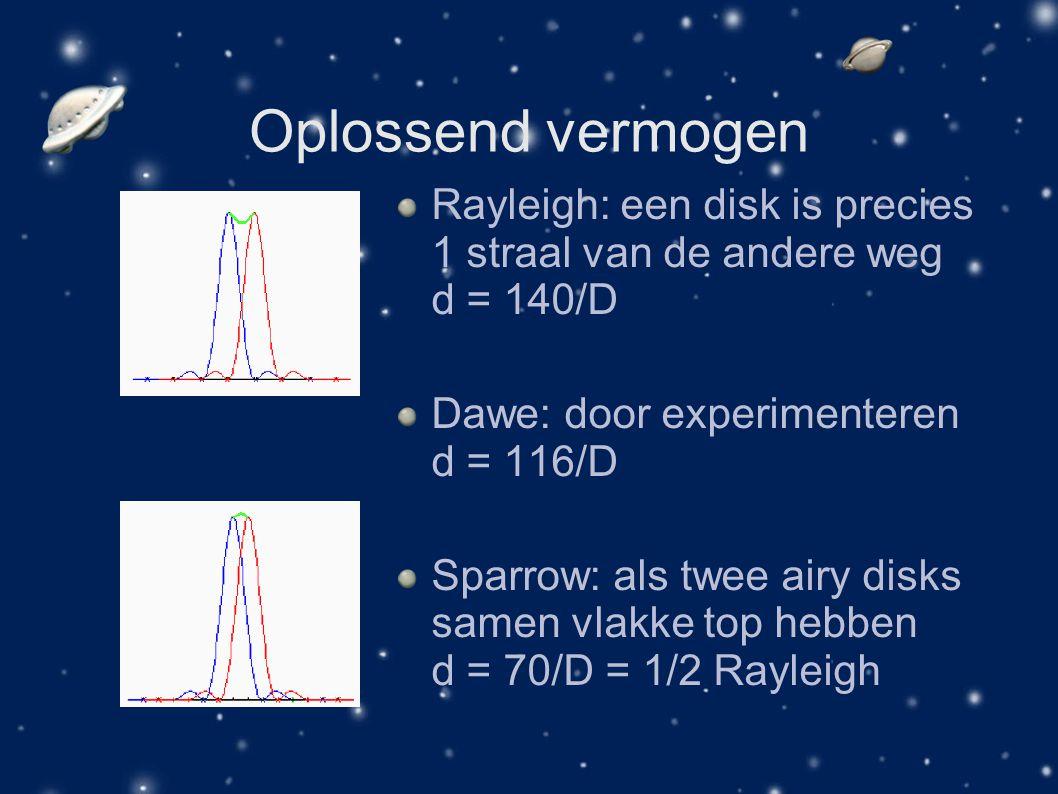 Oplossend vermogen Rayleigh: een disk is precies 1 straal van de andere weg d = 140/D. Dawe: door experimenteren d = 116/D.