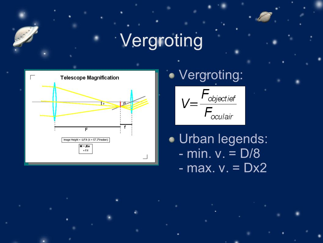 Vergroting Vergroting: Urban legends: - min. v. = D/8 - max. v. = Dx2