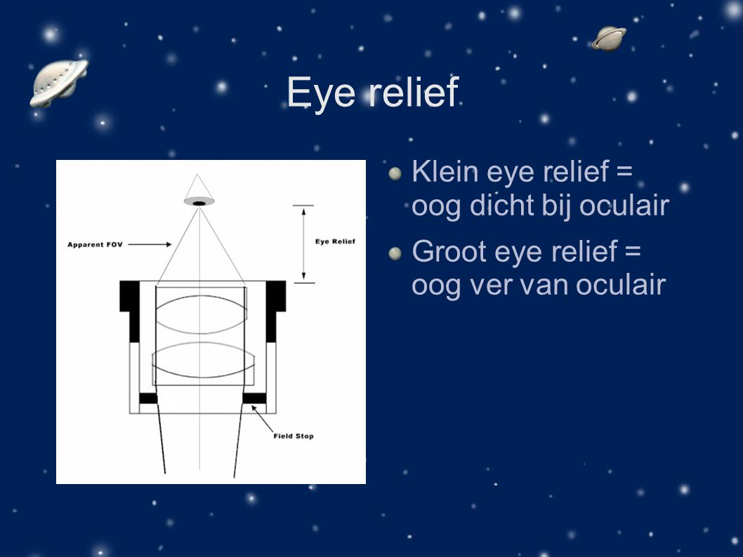 Eye relief Klein eye relief = oog dicht bij oculair