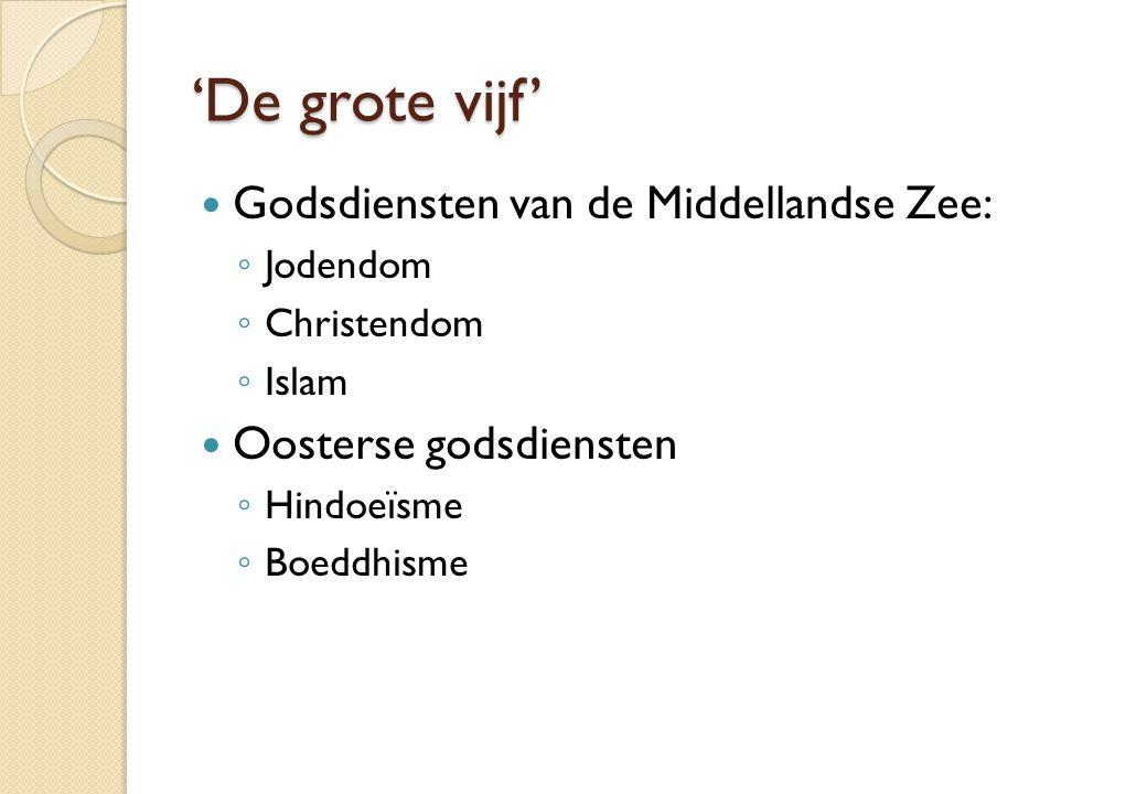 'De grote vijf' Godsdiensten van de Middellandse Zee: