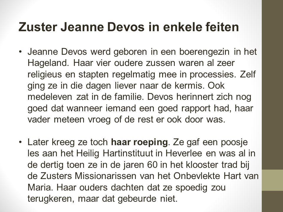 Zuster Jeanne Devos in enkele feiten