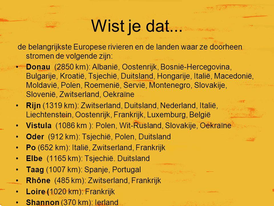 Wist je dat... de belangrijkste Europese rivieren en de landen waar ze doorheen stromen de volgende zijn: