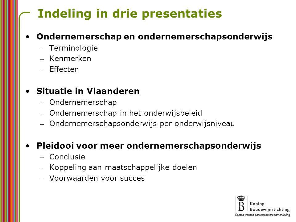 Indeling in drie presentaties