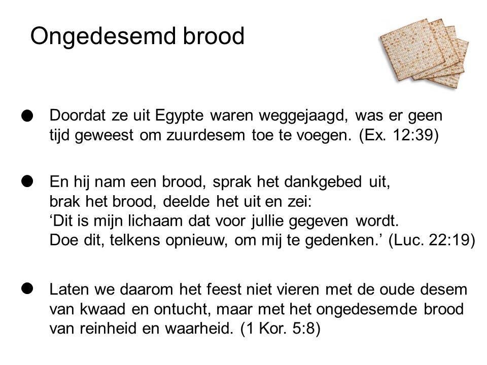Ongedesemd brood Doordat ze uit Egypte waren weggejaagd, was er geen