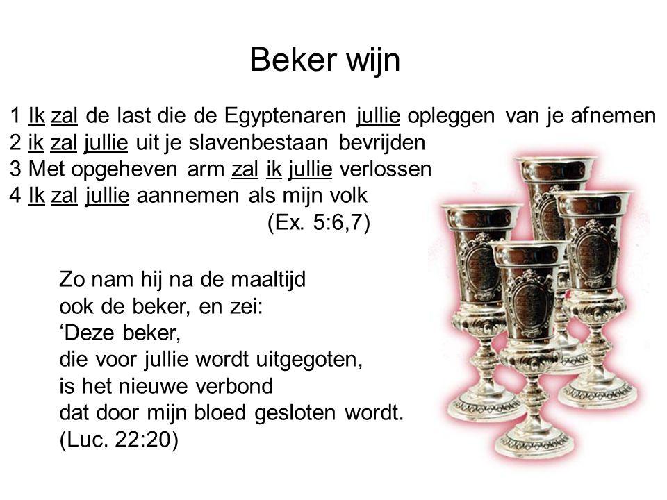 Beker wijn 1 Ik zal de last die de Egyptenaren jullie opleggen van je afnemen. 2 ik zal jullie uit je slavenbestaan bevrijden.