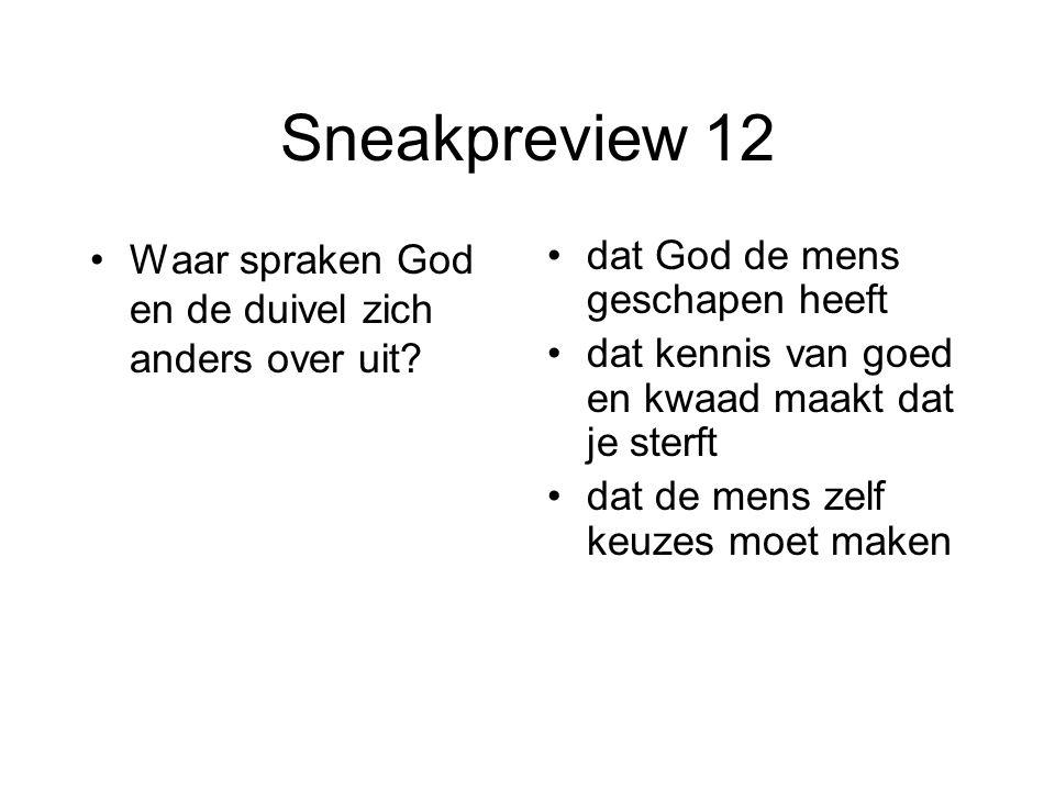 Sneakpreview 12 Waar spraken God en de duivel zich anders over uit