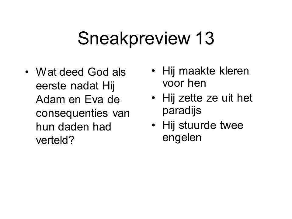 Sneakpreview 13 Wat deed God als eerste nadat Hij Adam en Eva de consequenties van hun daden had verteld