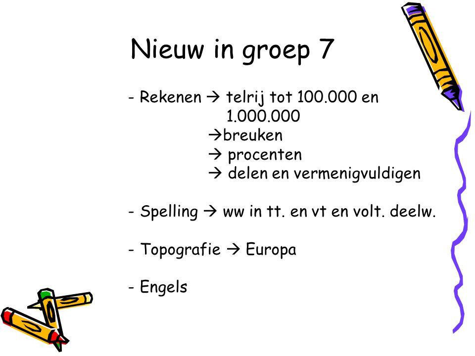 Nieuw in groep 7 Rekenen  telrij tot 100.000 en 1.000.000 breuken