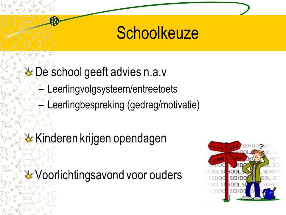 Schoolkeuze De school geeft advies n.a.v Kinderen krijgen opendagen