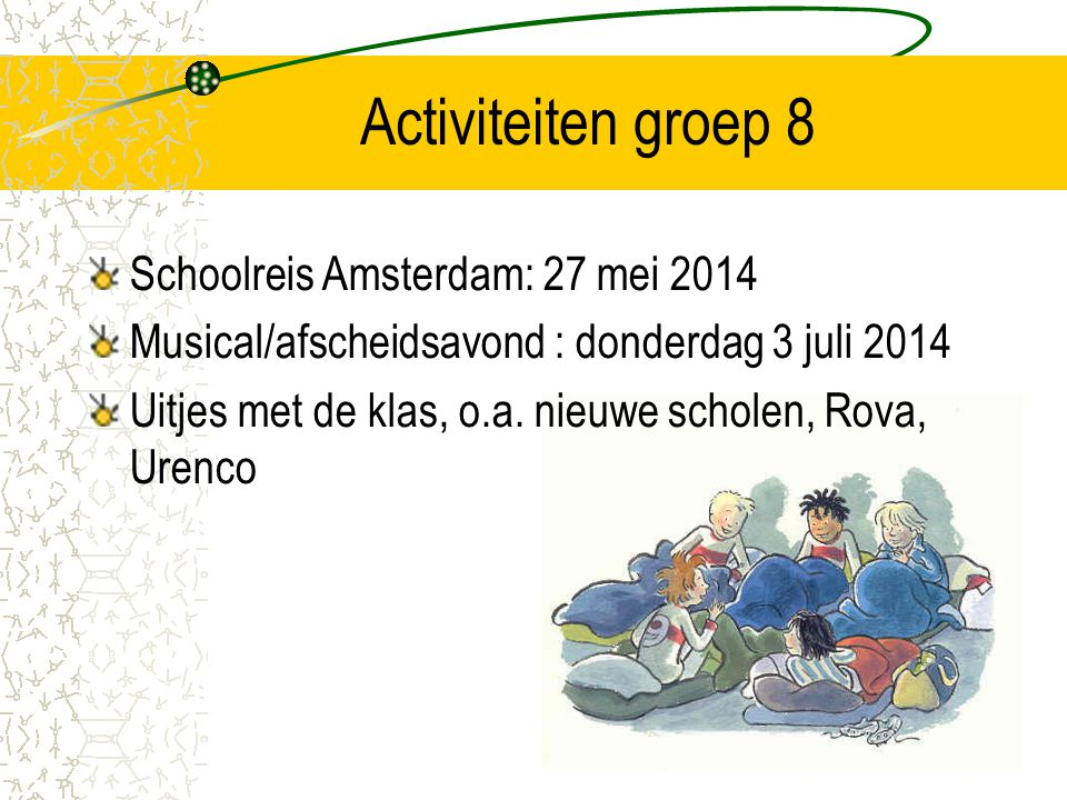 Activiteiten groep 8 Schoolreis Amsterdam: 27 mei 2014