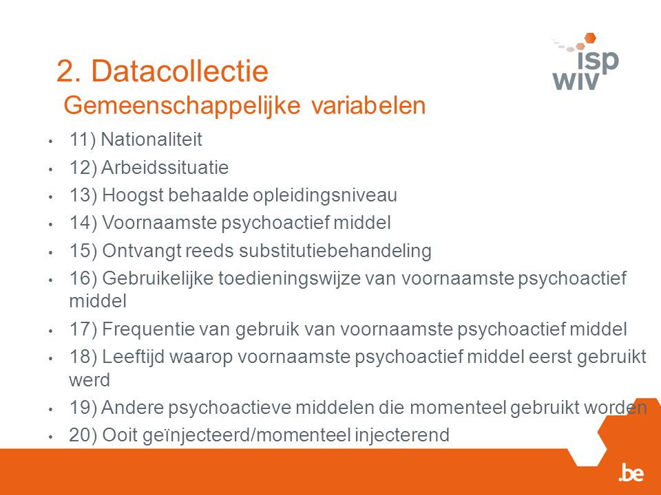 2. Datacollectie Gemeenschappelijke variabelen
