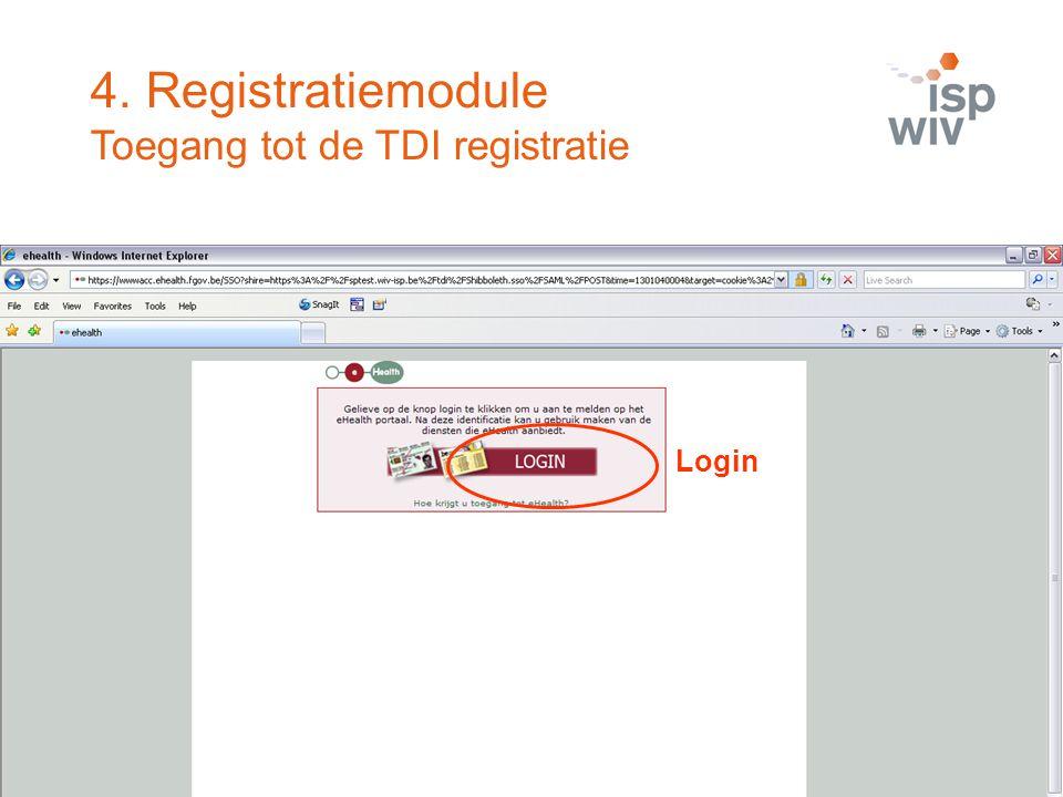4. Registratiemodule Toegang tot de TDI registratie Login