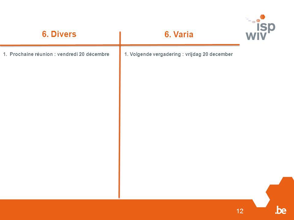 6. Divers 6. Varia 1. Prochaine réunion : vendredi 20 décembre