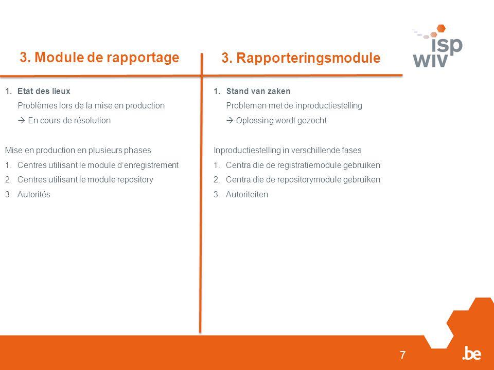 3. Module de rapportage 3. Rapporteringsmodule