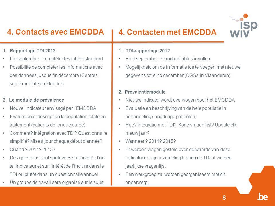 4. Contacts avec EMCDDA 4. Contacten met EMCDDA