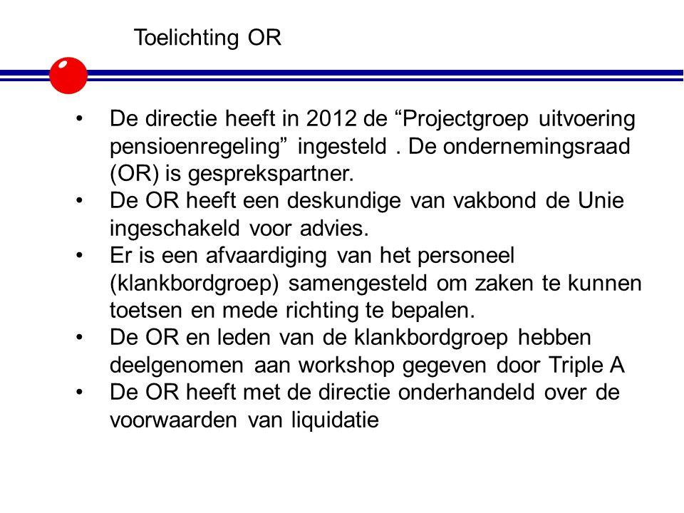 Toelichting OR De directie heeft in 2012 de Projectgroep uitvoering pensioenregeling ingesteld . De ondernemingsraad (OR) is gesprekspartner.