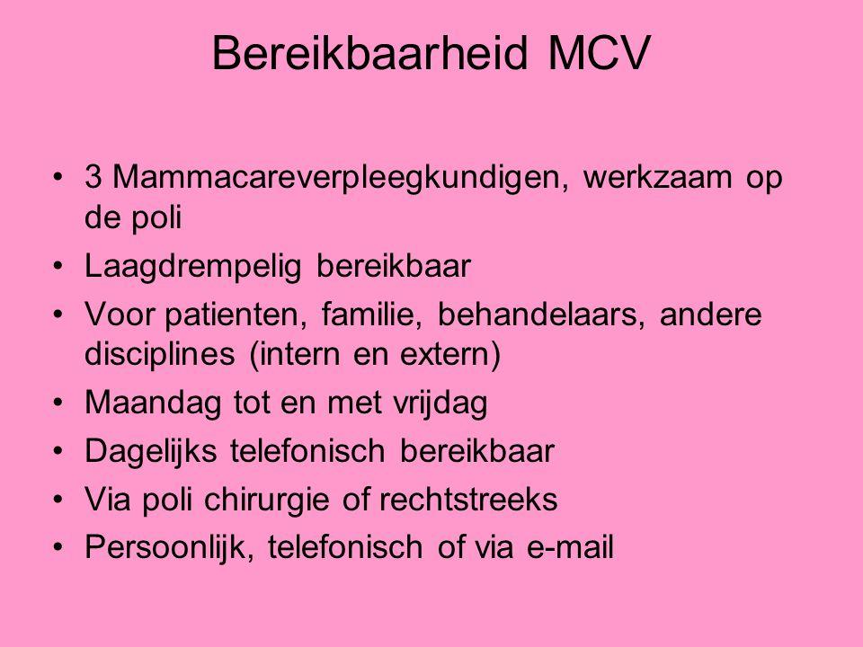 Bereikbaarheid MCV 3 Mammacareverpleegkundigen, werkzaam op de poli