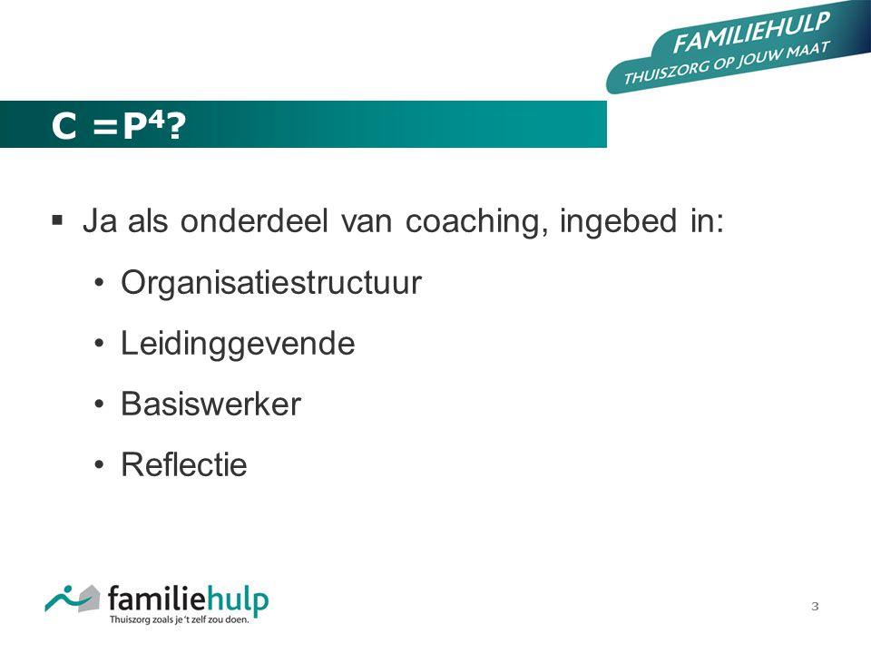 C =P4 Ja als onderdeel van coaching, ingebed in: Organisatiestructuur