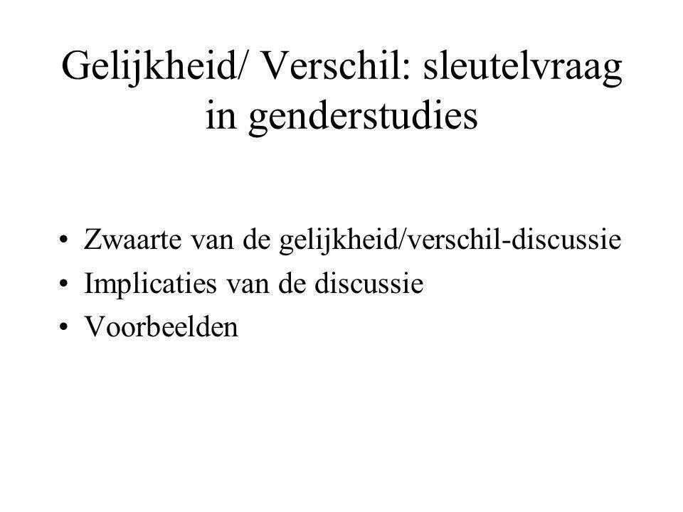 Gelijkheid/ Verschil: sleutelvraag in genderstudies