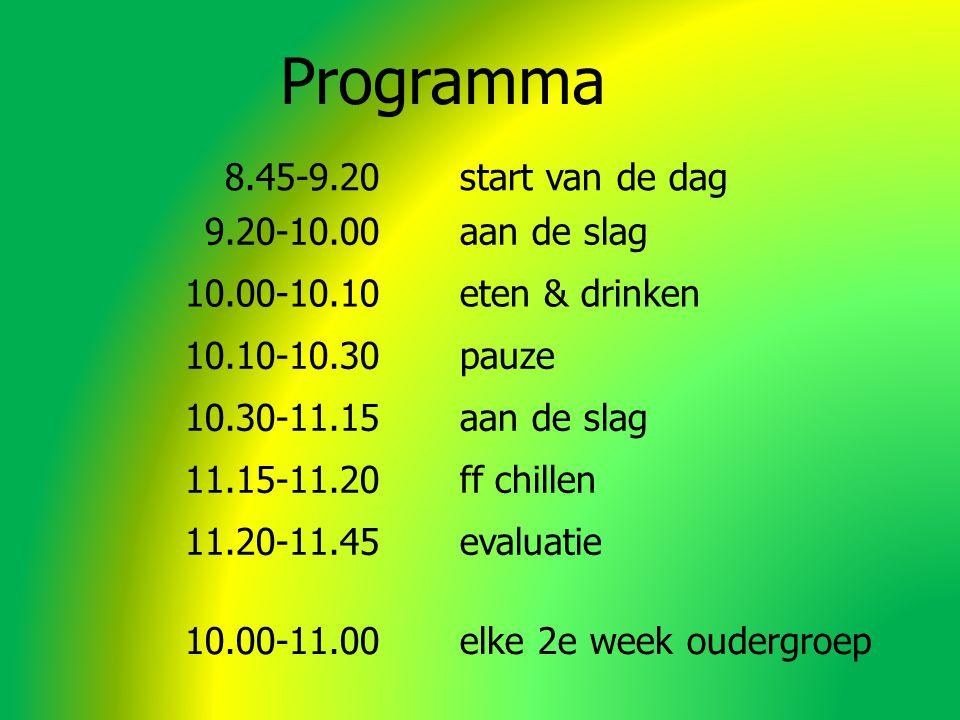 Programma 8.45-9.20 start van de dag 9.20-10.00 aan de slag