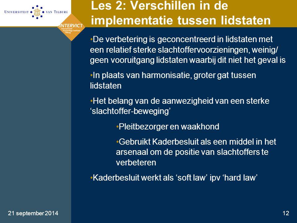 Les 2: Verschillen in de implementatie tussen lidstaten
