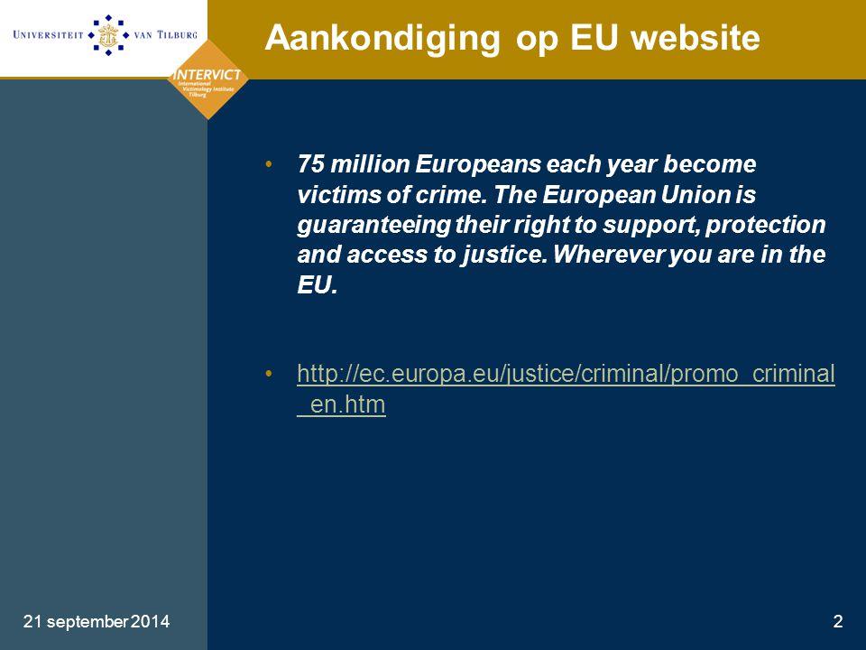 Aankondiging op EU website