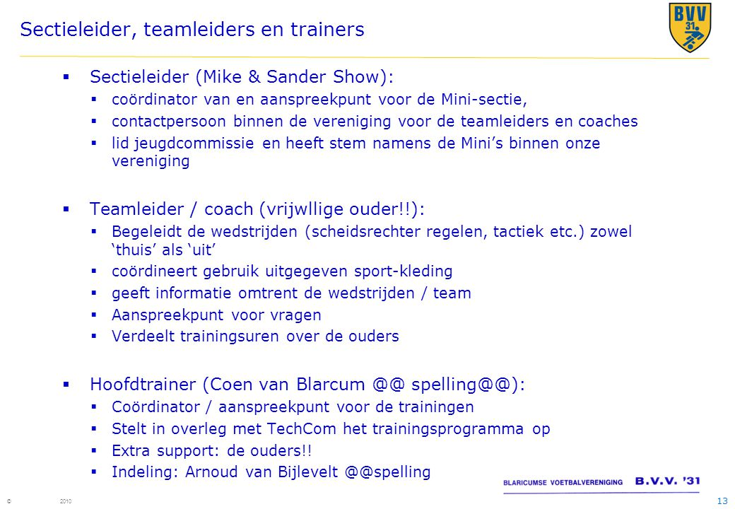 Sectieleider, teamleiders en trainers
