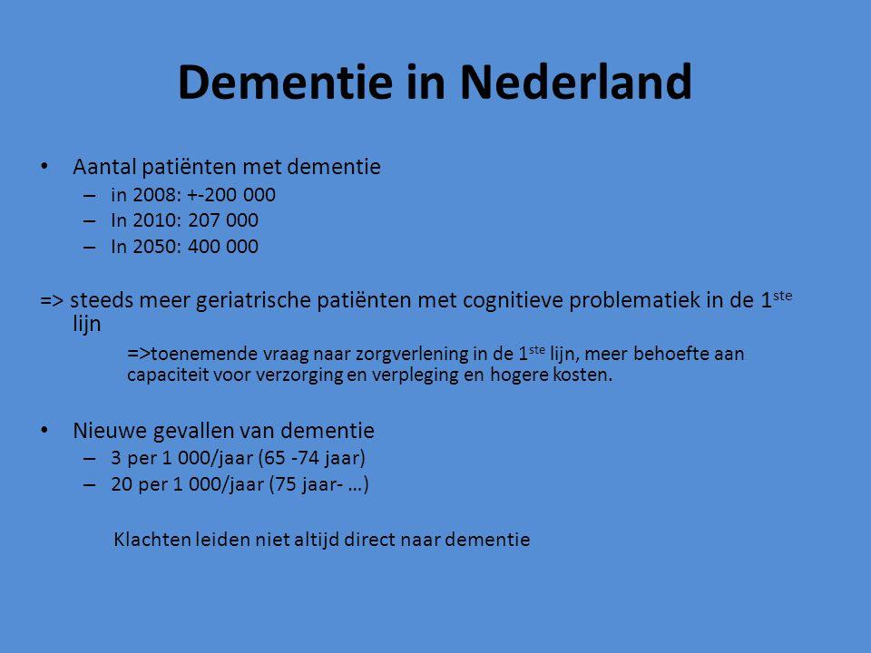 Dementie in Nederland Aantal patiënten met dementie