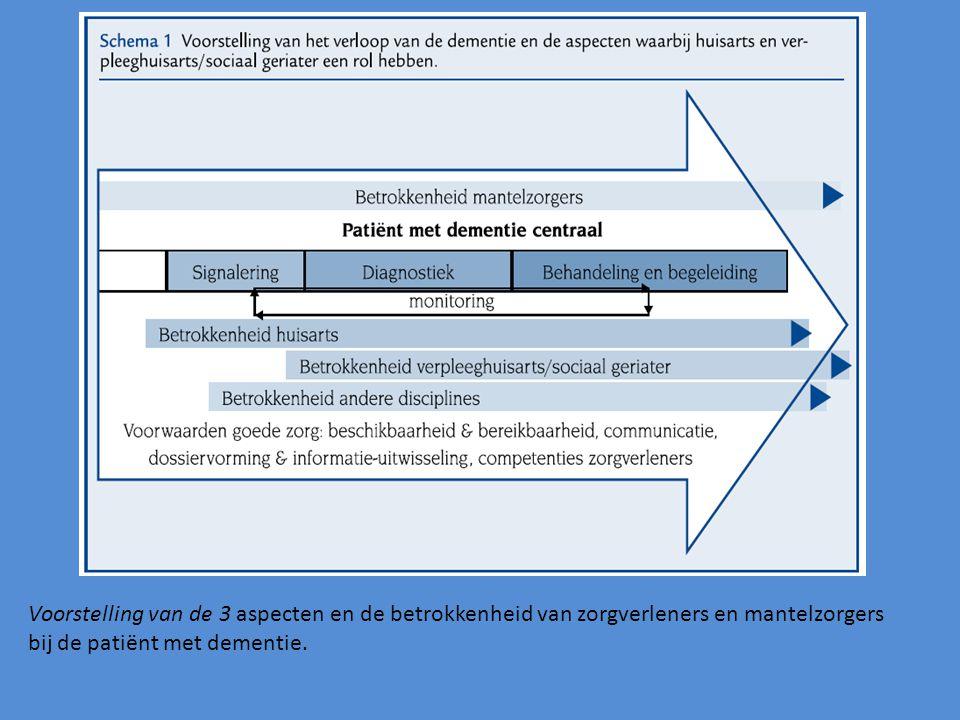 Voorstelling van de 3 aspecten en de betrokkenheid van zorgverleners en mantelzorgers bij de patiënt met dementie.