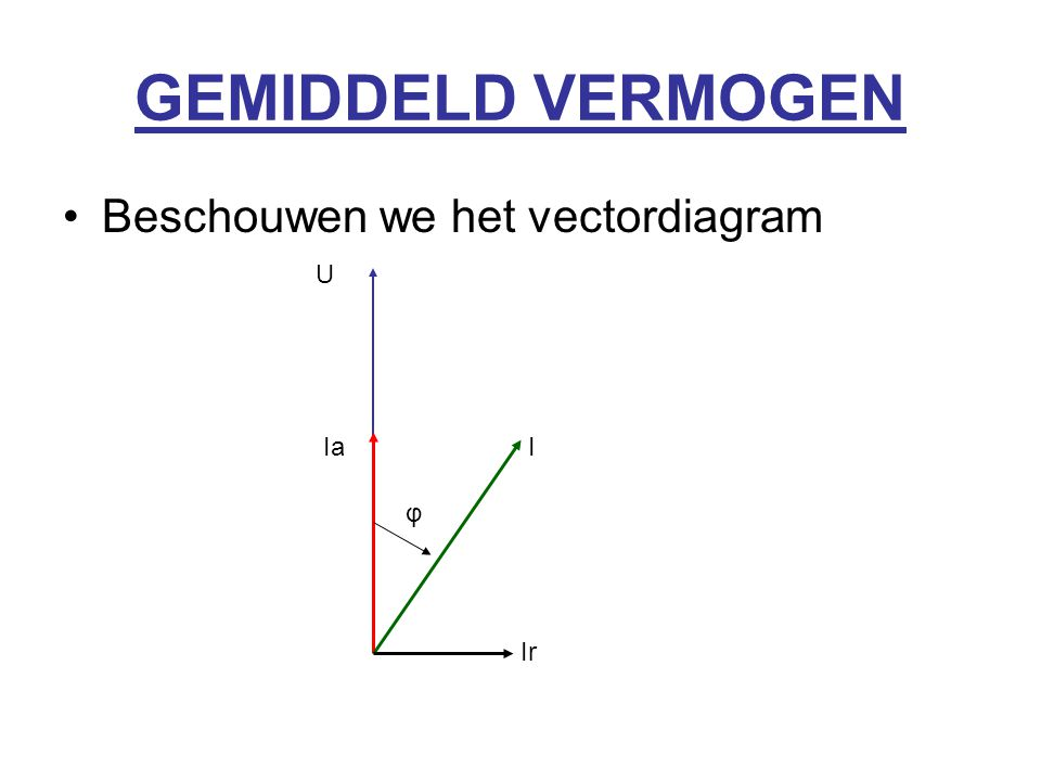 GEMIDDELD VERMOGEN Beschouwen we het vectordiagram U Ia I φ Ir