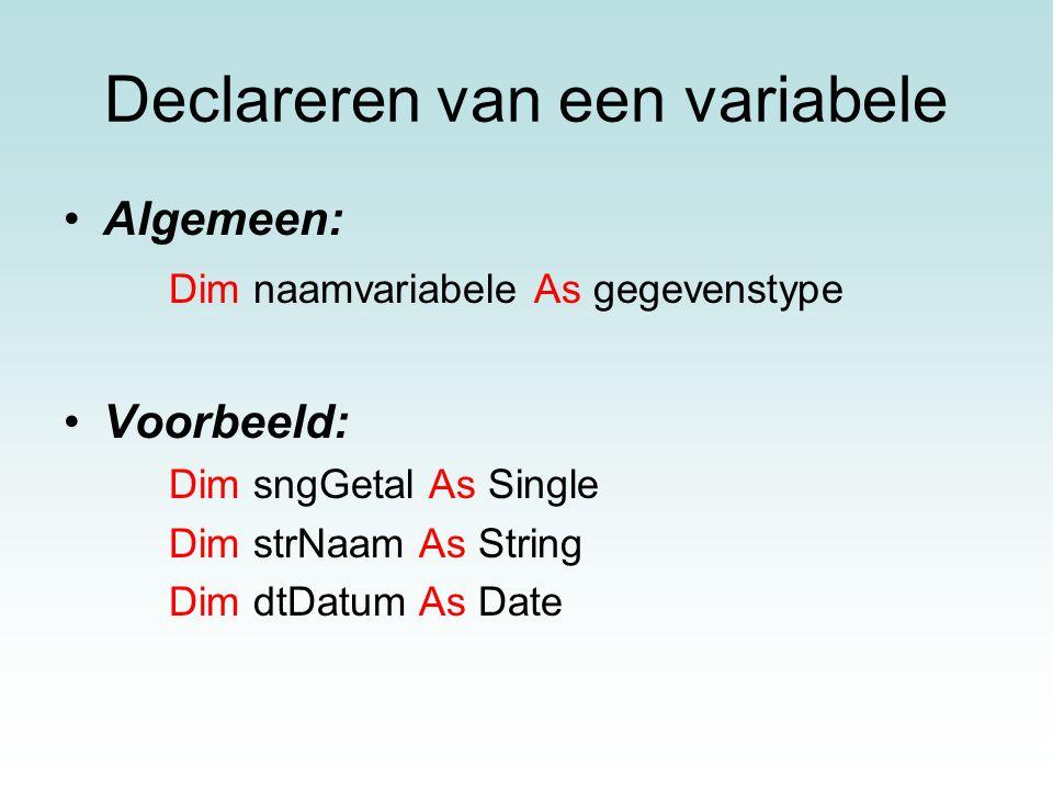 Declareren van een variabele