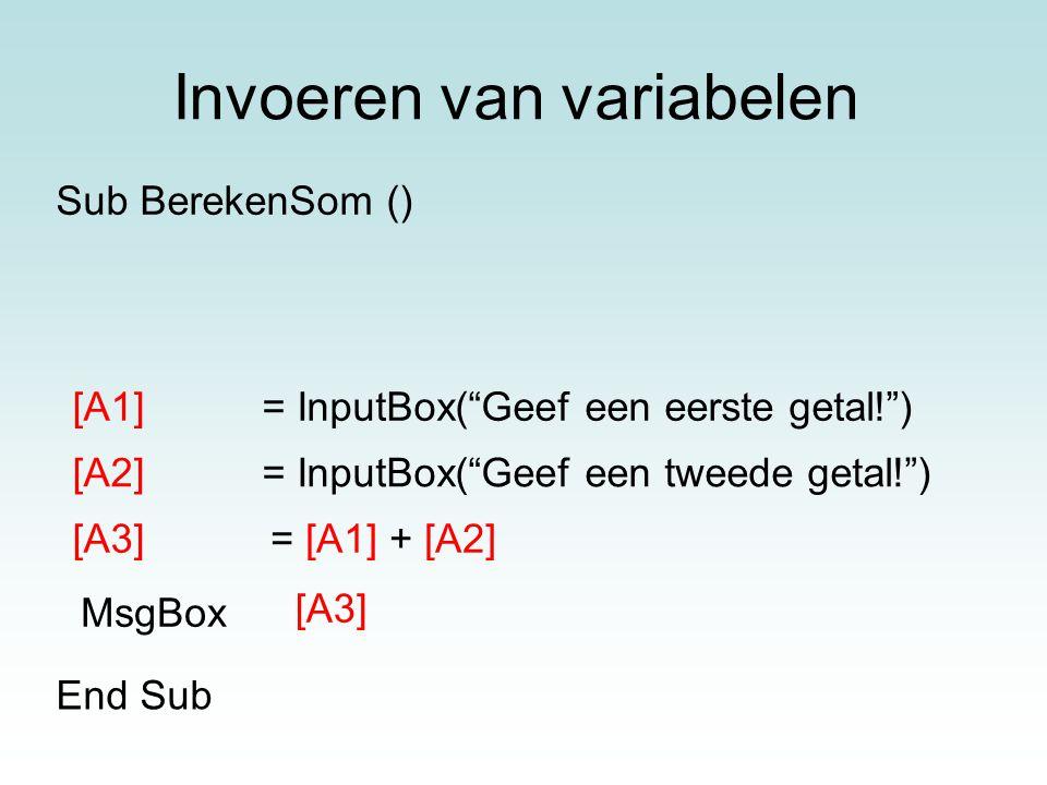 Invoeren van variabelen