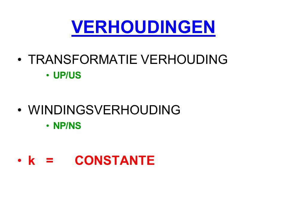 VERHOUDINGEN TRANSFORMATIE VERHOUDING WINDINGSVERHOUDING k = CONSTANTE
