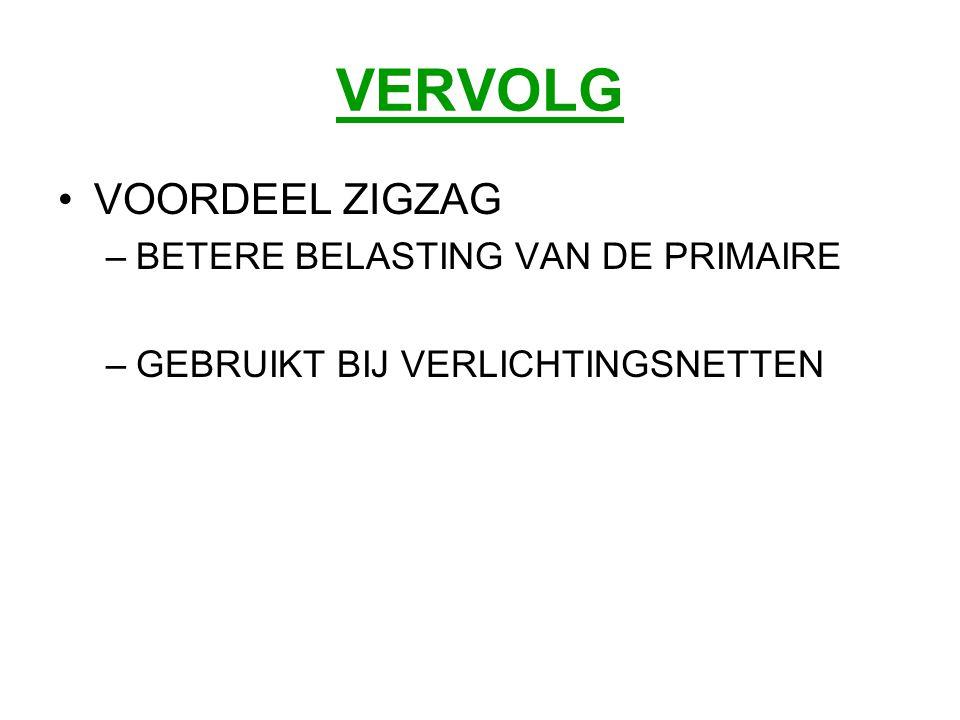 VERVOLG VOORDEEL ZIGZAG BETERE BELASTING VAN DE PRIMAIRE