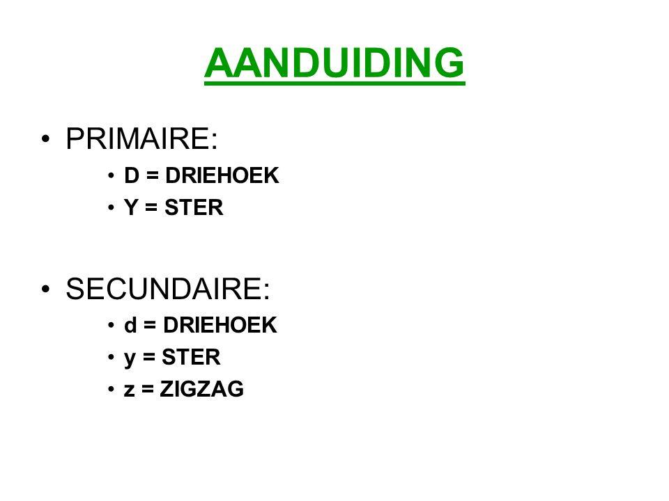 AANDUIDING PRIMAIRE: SECUNDAIRE: D = DRIEHOEK Y = STER d = DRIEHOEK